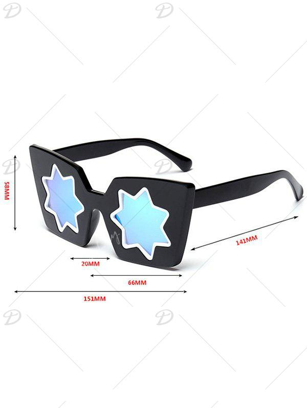 Star Geometric Frame Fancy Reflective Mirrored Sunglasses - Or