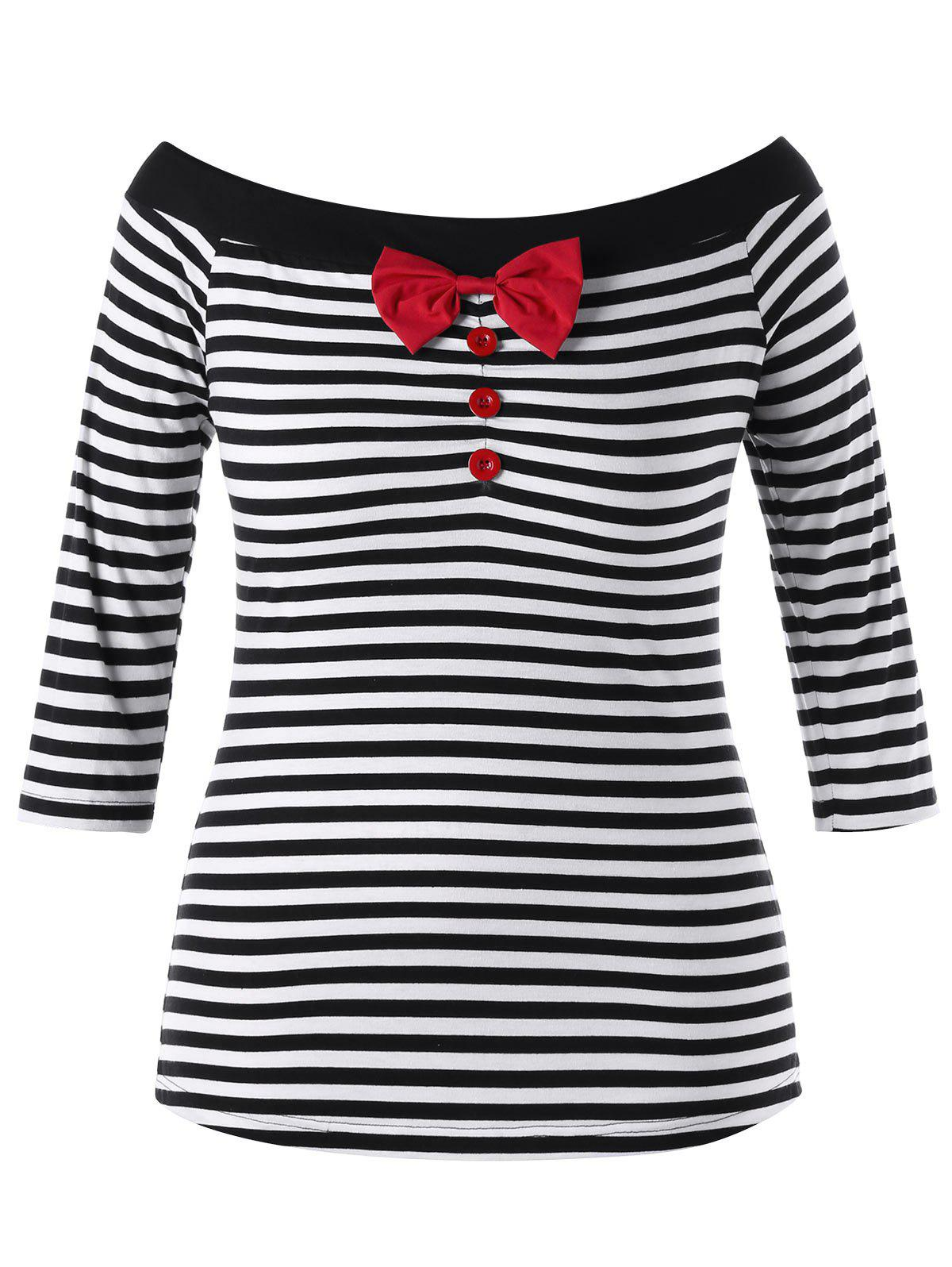 Plus Size Bowknot Embellished Striped Top plus size bowknot embellished tunic top