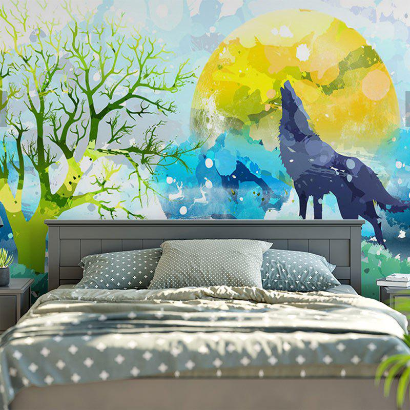 Wall Hanging Cartoon Wolf Printed Tapestry - COLORMIX W59 INCH * L51 INCH