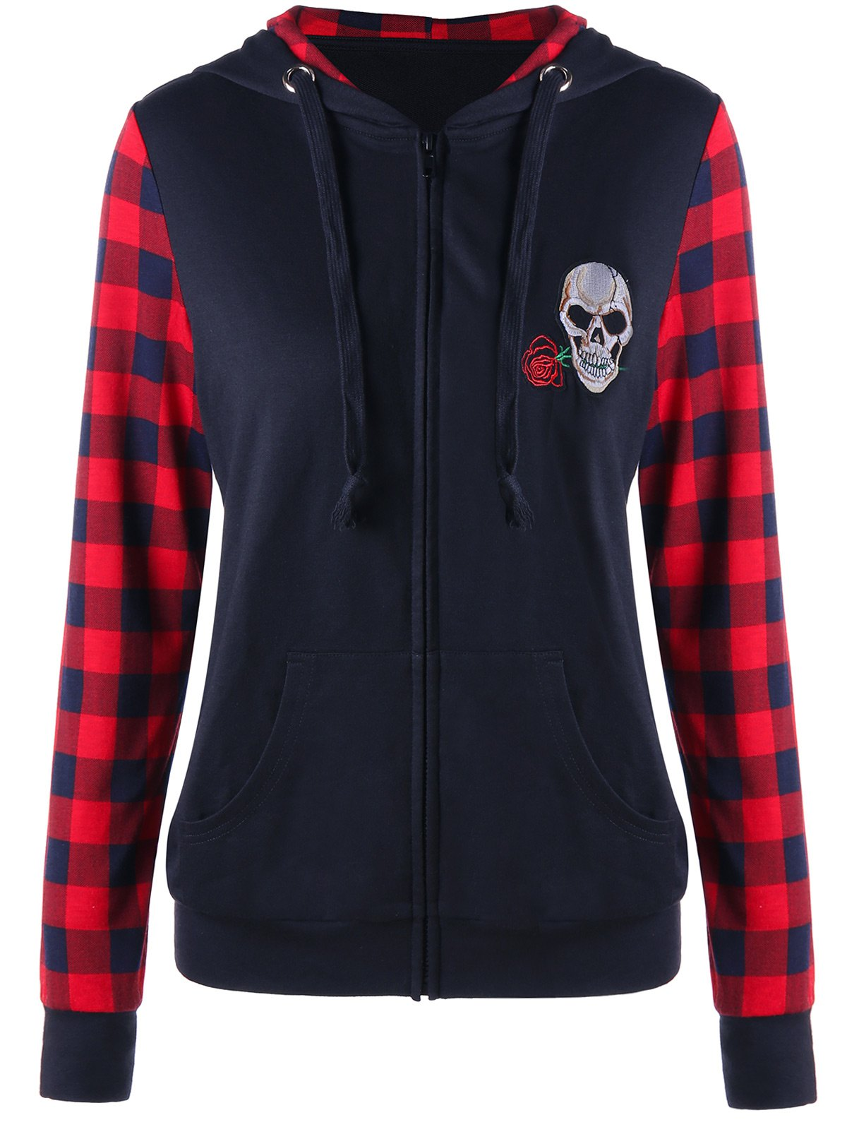 Skull Patched Plaid Insert Zip Up Hoodie - BLACK/RED XL