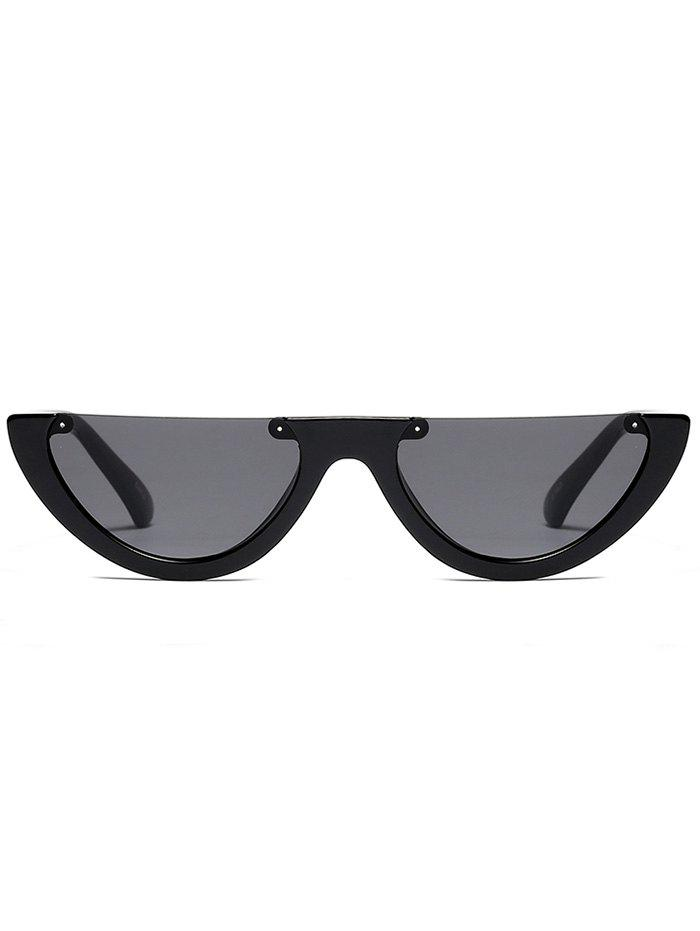 Semilunar Semi-Rimless Street Snap Sunglasses - BLACK