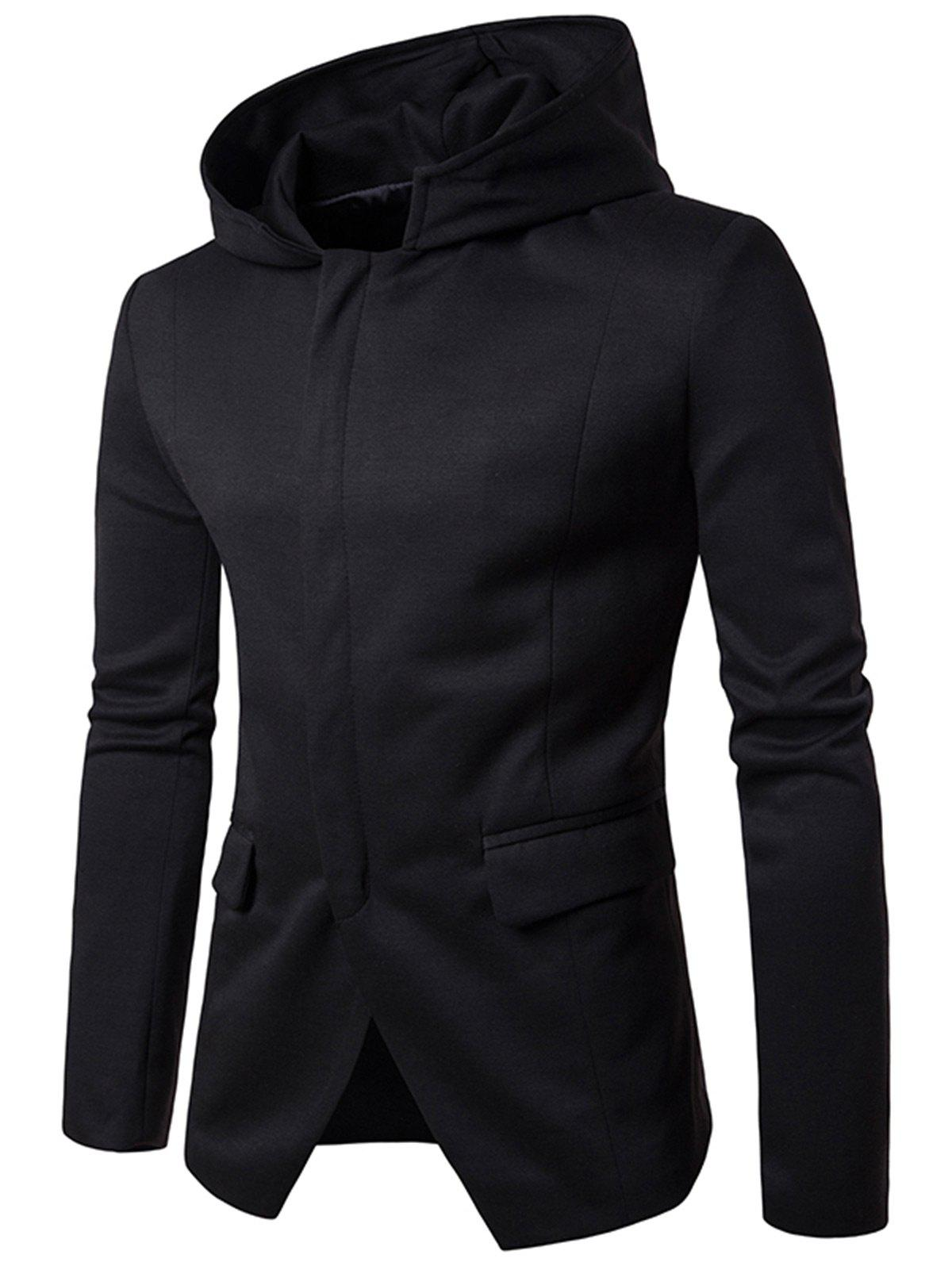 Flap Pockets Zip Up Casual Hooded Blazer - BLACK M