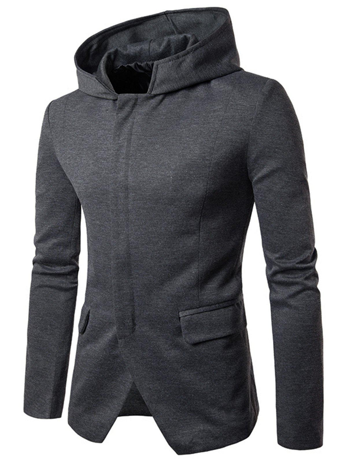 Poches à rabat Zip Up Casual Hooded Blazer - gris L