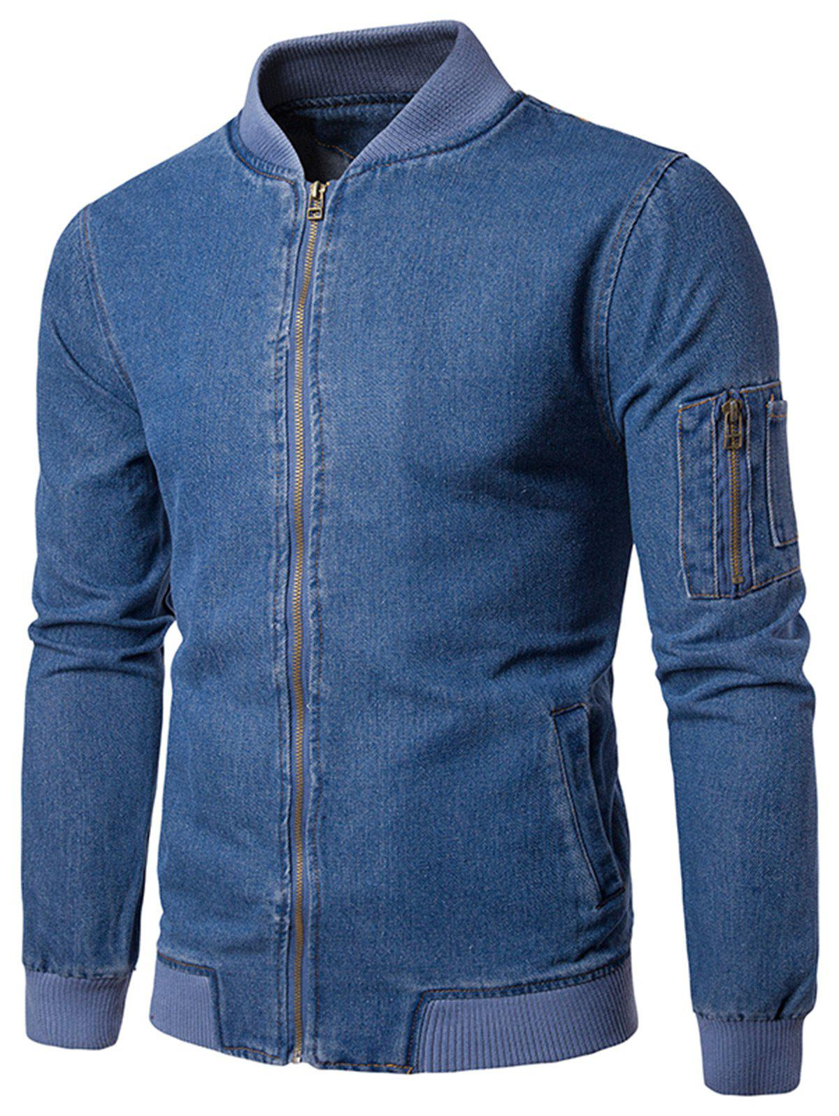 Ribbed Hem Zip Up Denim Jacket - BLUE L