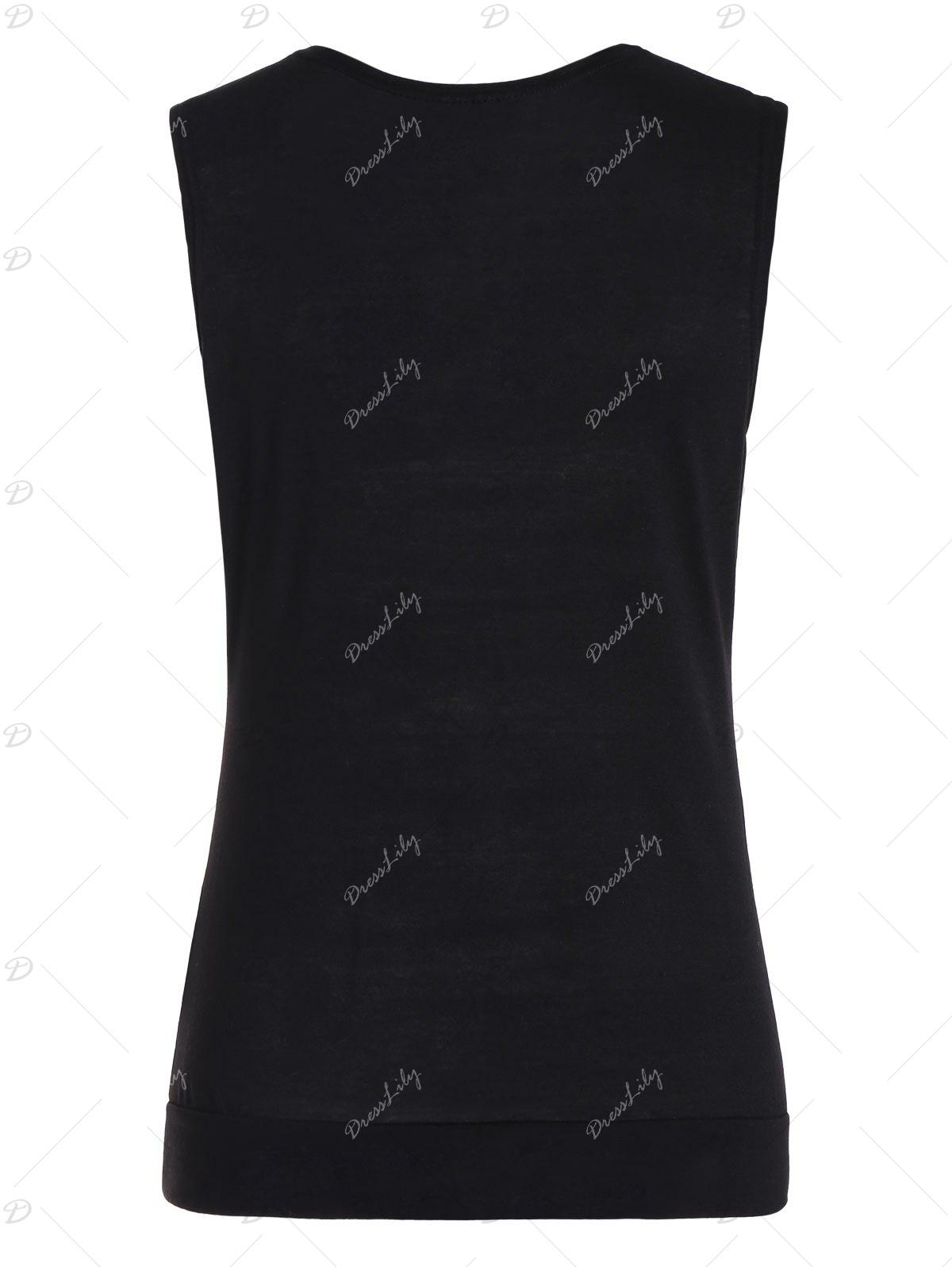 Drape Neck Side Button Tank Top - BLACK XL