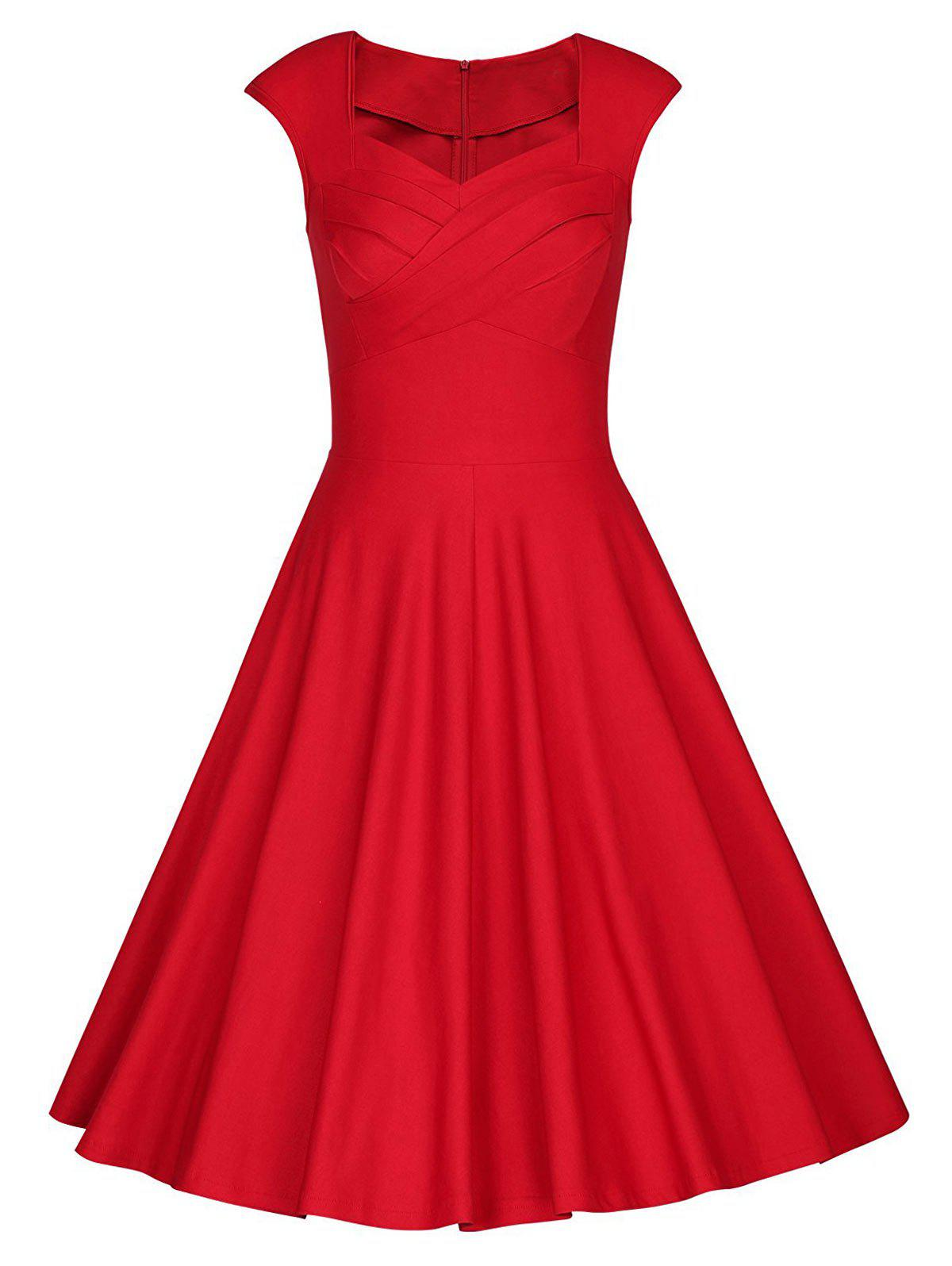Vintage Sweetheart Neck Pin Up Party Dress - Rouge S