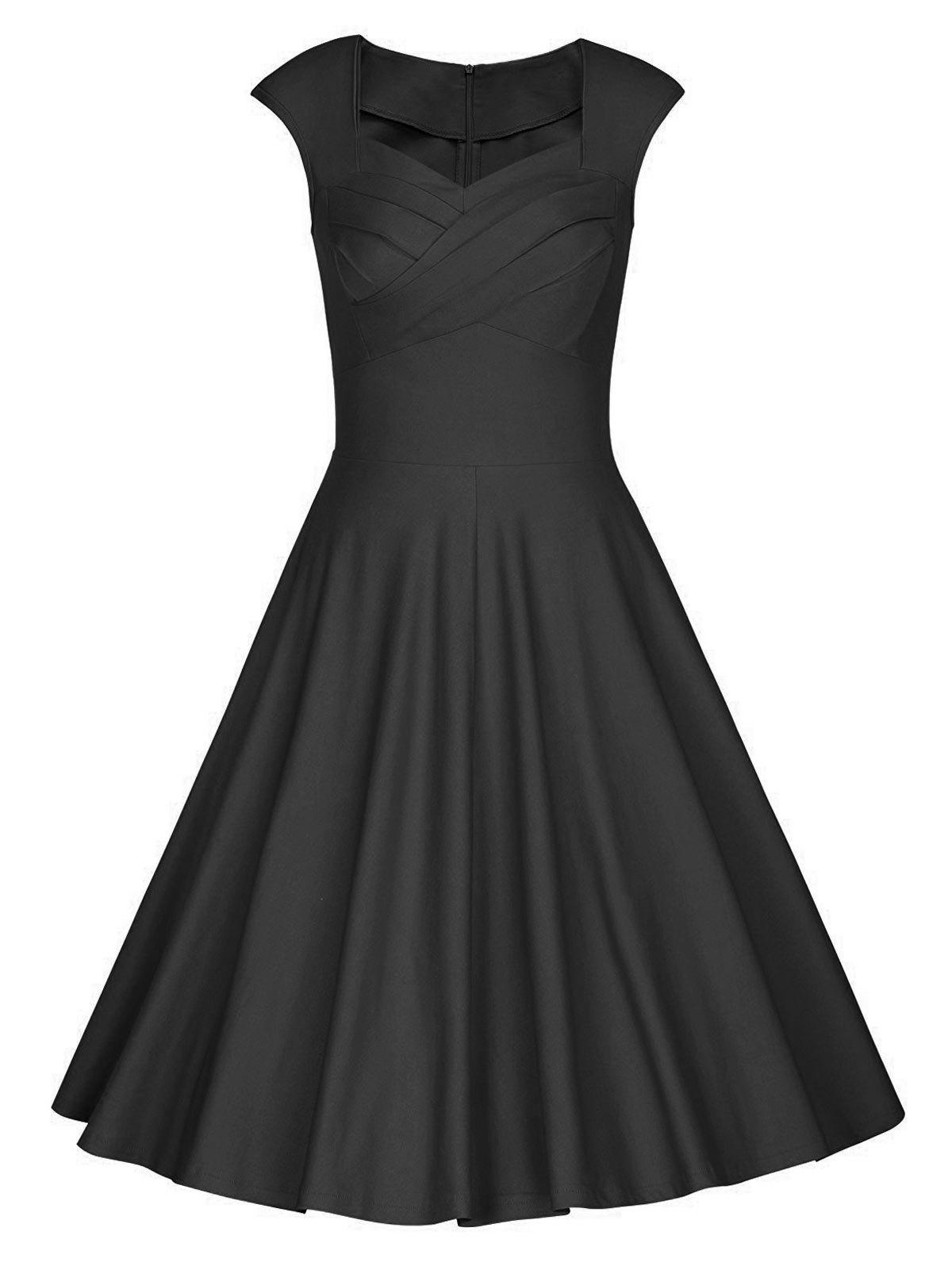 Vintage Sweetheart Neck Pin Up Party Dress - Noir L