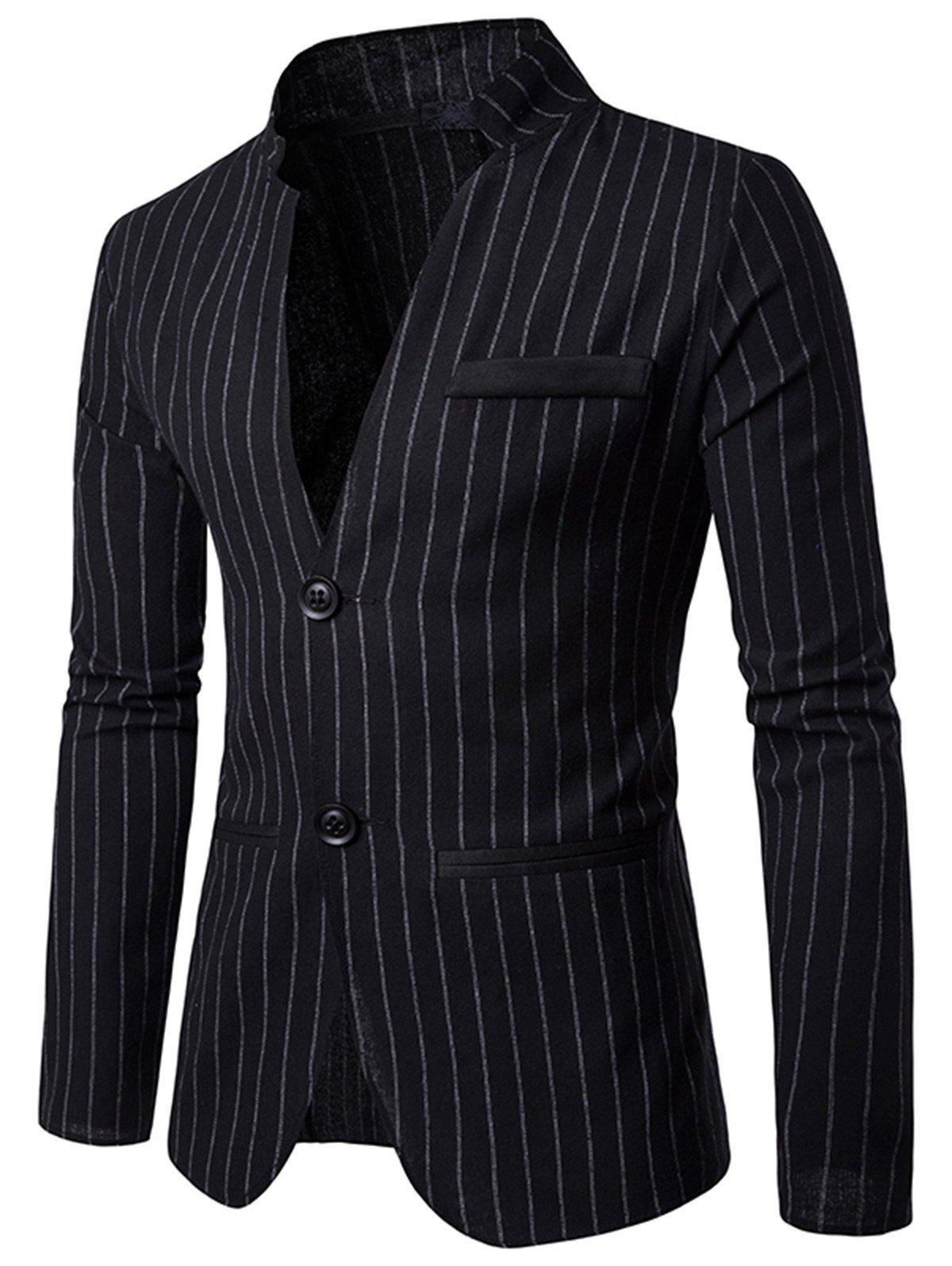 Slim Fit Vertical Stripe Casual Blazer - Noir L
