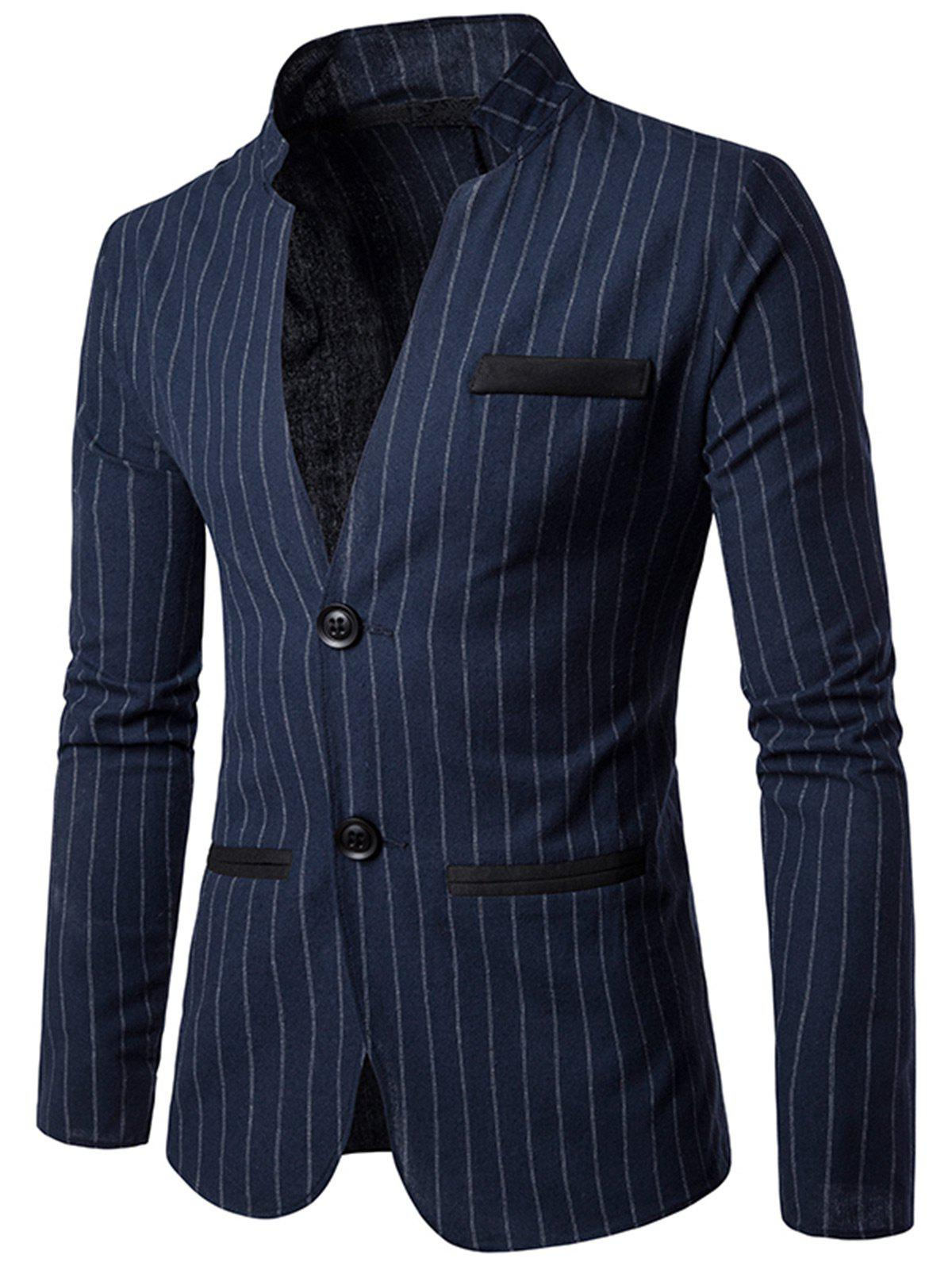 Slim Fit Vertical Stripe Casual Blazer - CADETBLUE L