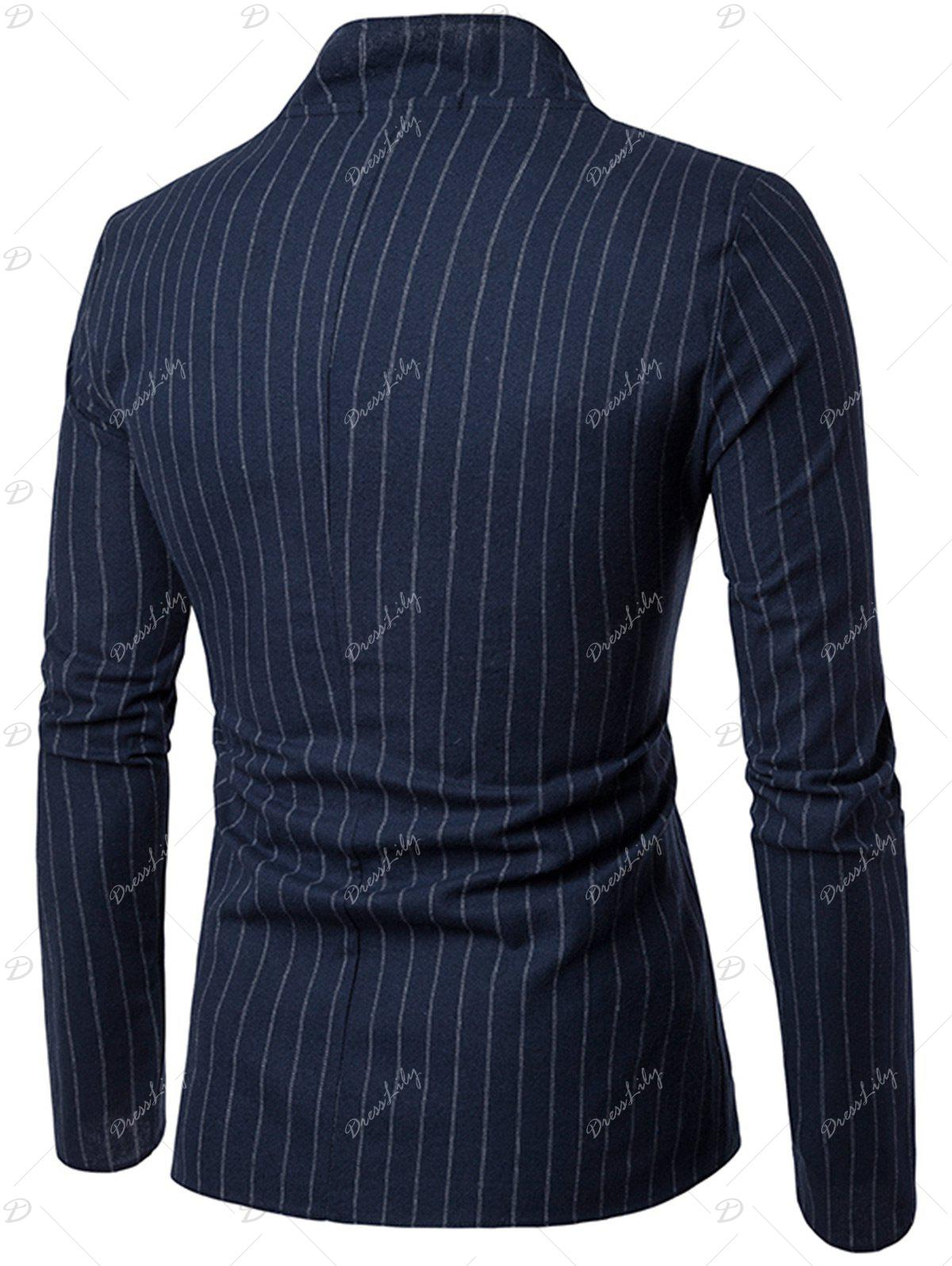 Slim Fit Vertical Stripe Casual Blazer - CADETBLUE XL