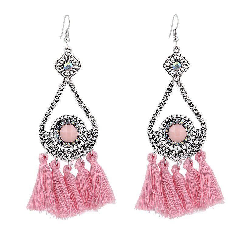 Rhinestone Teardrop Tassel Vintage Earrings - PINK