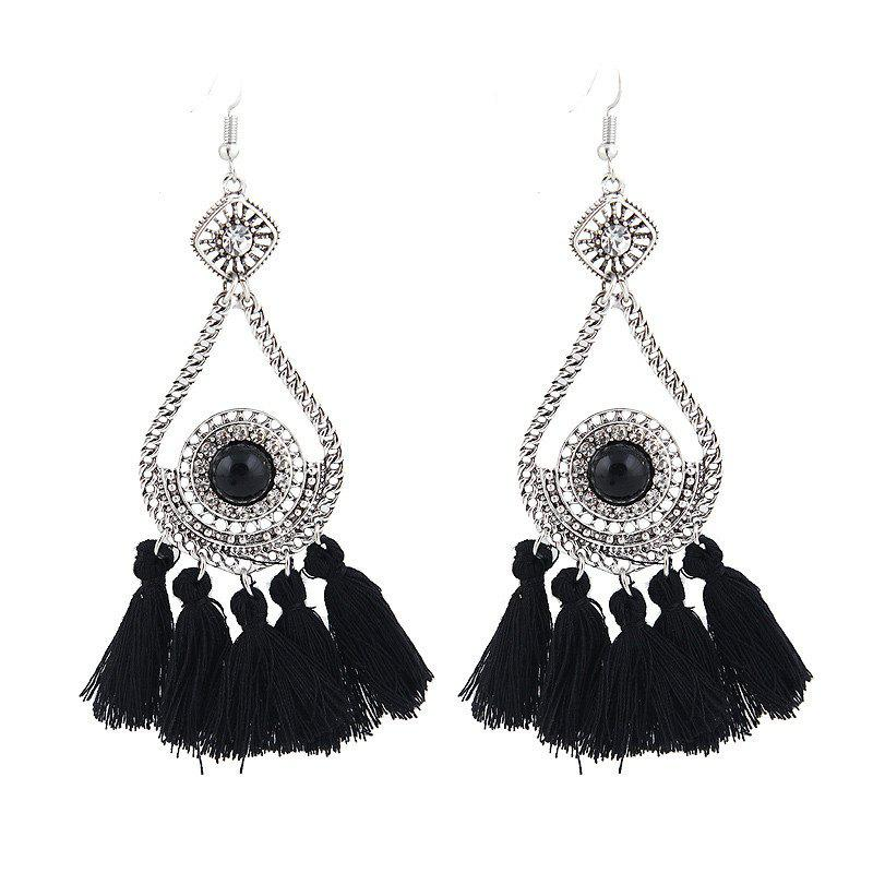 Rhinestone Teardrop Tassel Vintage Earrings - Noir