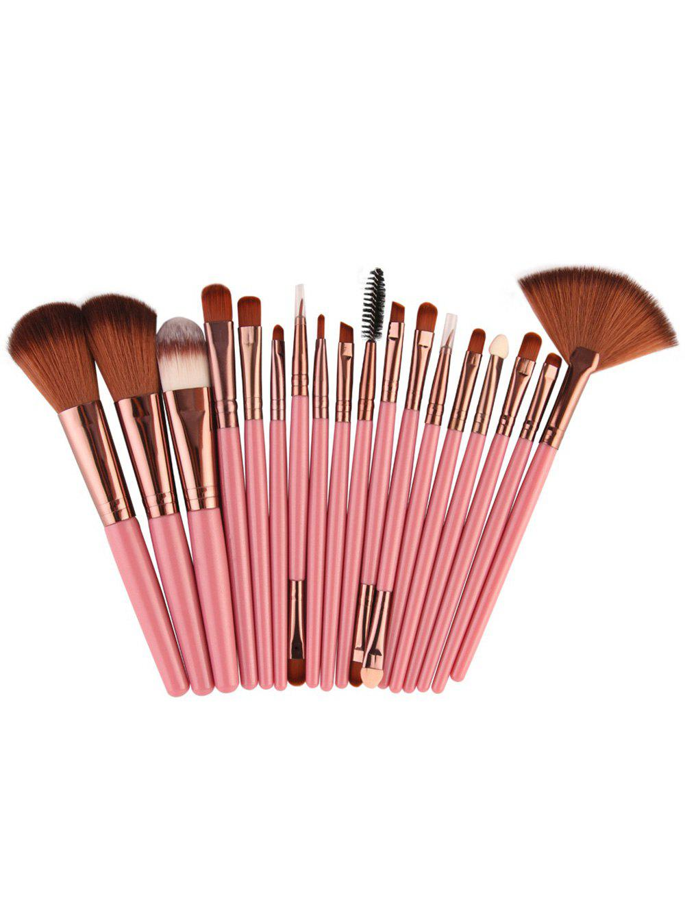 18Pcs Facial Multipurpose Makeup Brushes Kit - PINKISH BROWN