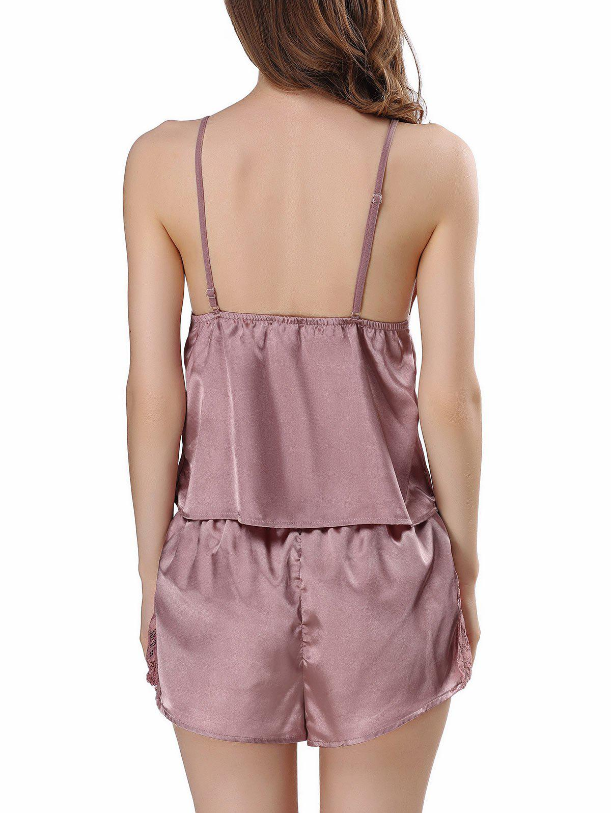 Ensemble de pyjama en satin Cami - Pale Rose Gris L