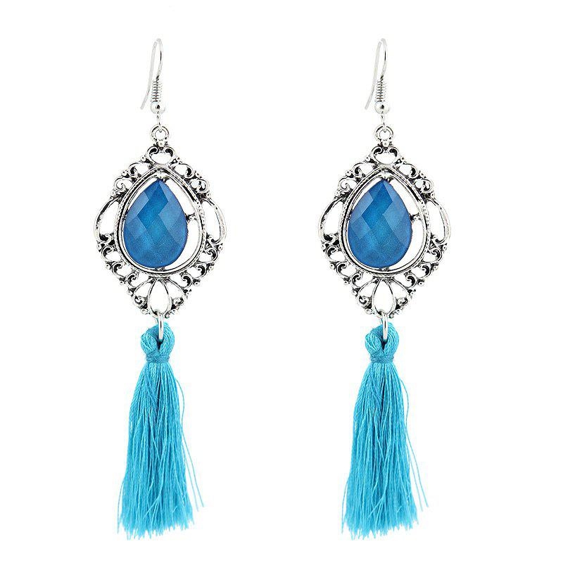 Faux Gemstone Tassel Teardrop Hook Earrings faux opal geometric earrings