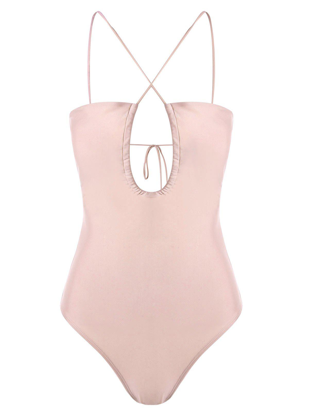 Cut Out Strappy One-piece Swimwear - LIGHT APRICOT PINK L