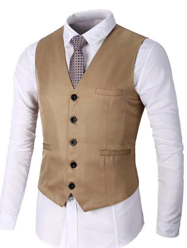 Faux Pocket Single Breasted Plain Waistcoat - Kaki M