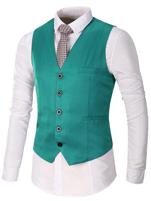 Faux Pocket Single Breasted Plain Waistcoat - Vert L