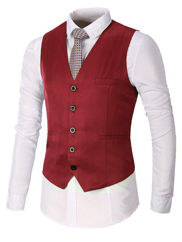 Faux Pocket Single Breasted Plain Waistcoat - Rouge vineux 3XL
