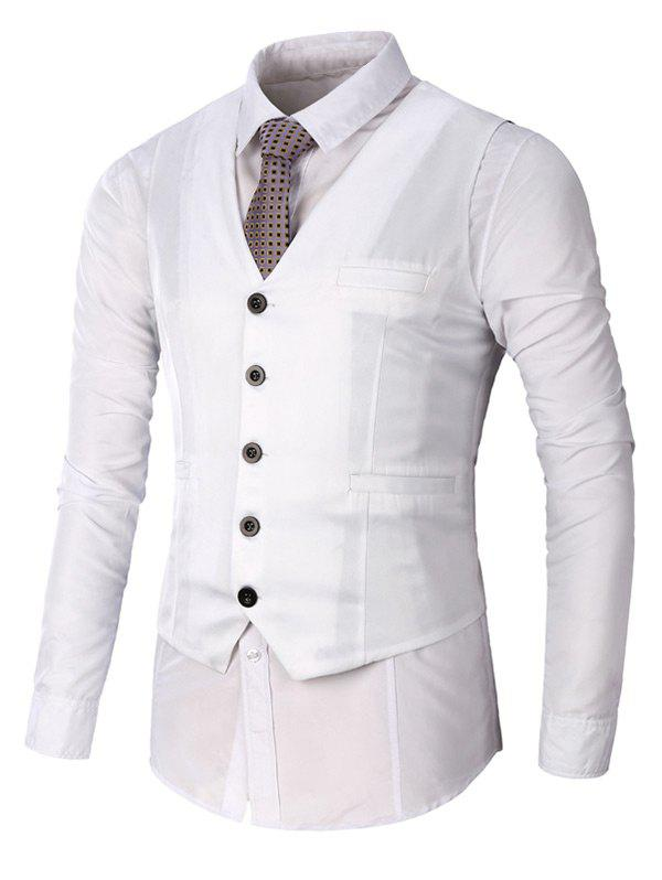 Faux Pocket Single Breasted Plain Waistcoat - Blanc 3XL