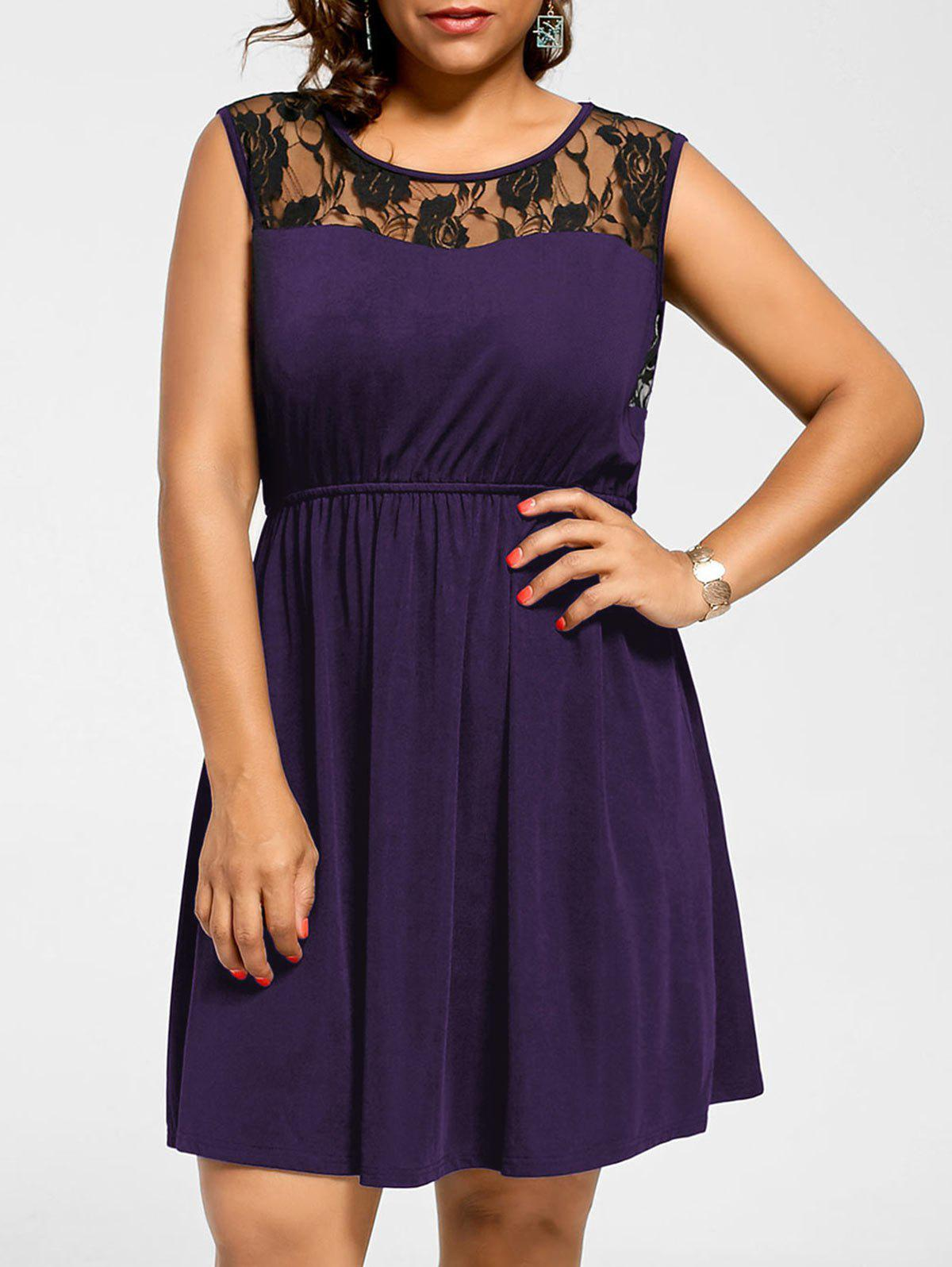 Robe Patineuse Grande Taille Dentelle sans Manches - Pourpre XL