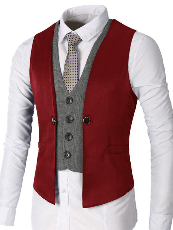 Two Tone Single Breasted Faux Twinset Waistcoat - WINE RED S