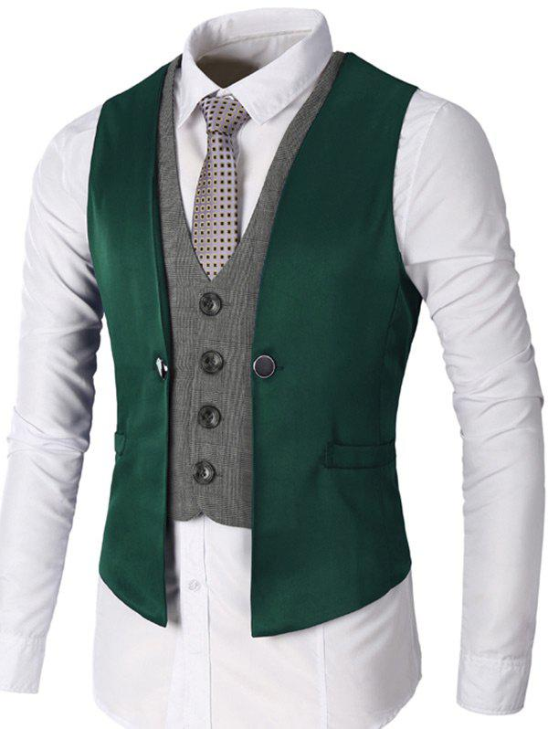 Two Tone Single Breasted Faux Twinset Waistcoat - GREEN M