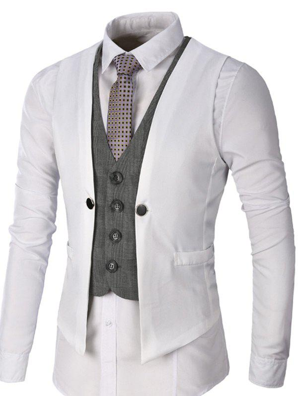 Two Tone Single Breasted Faux Twinset Waistcoat - WHITE L