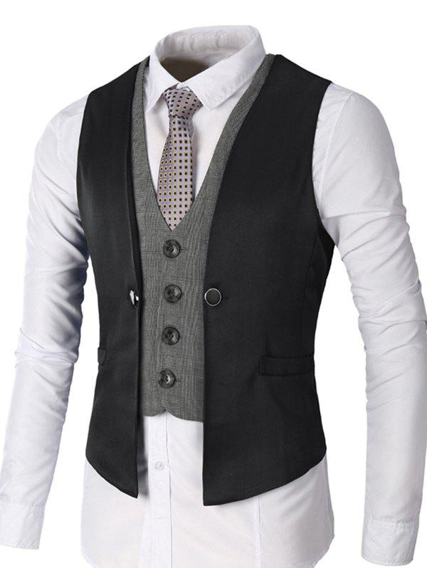 Two Tone Single Breasted Faux Twinset Waistcoat - BLACK M