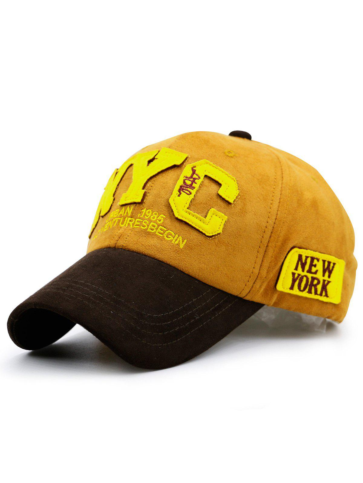 Chapeau de baseball de couleur Block NYC - Jaune