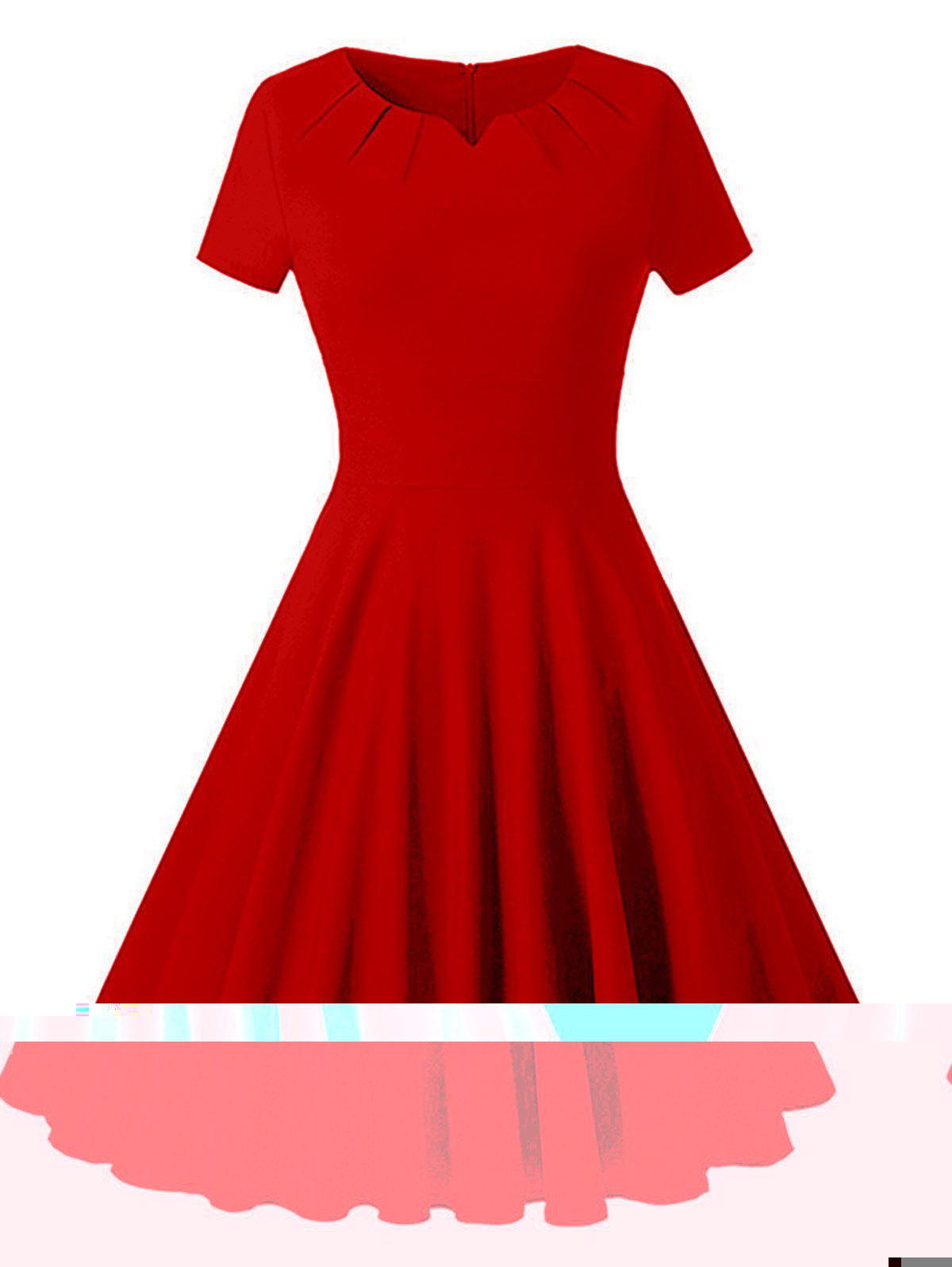 Vintage Ruched Party Skater Dress - Rouge 2XL