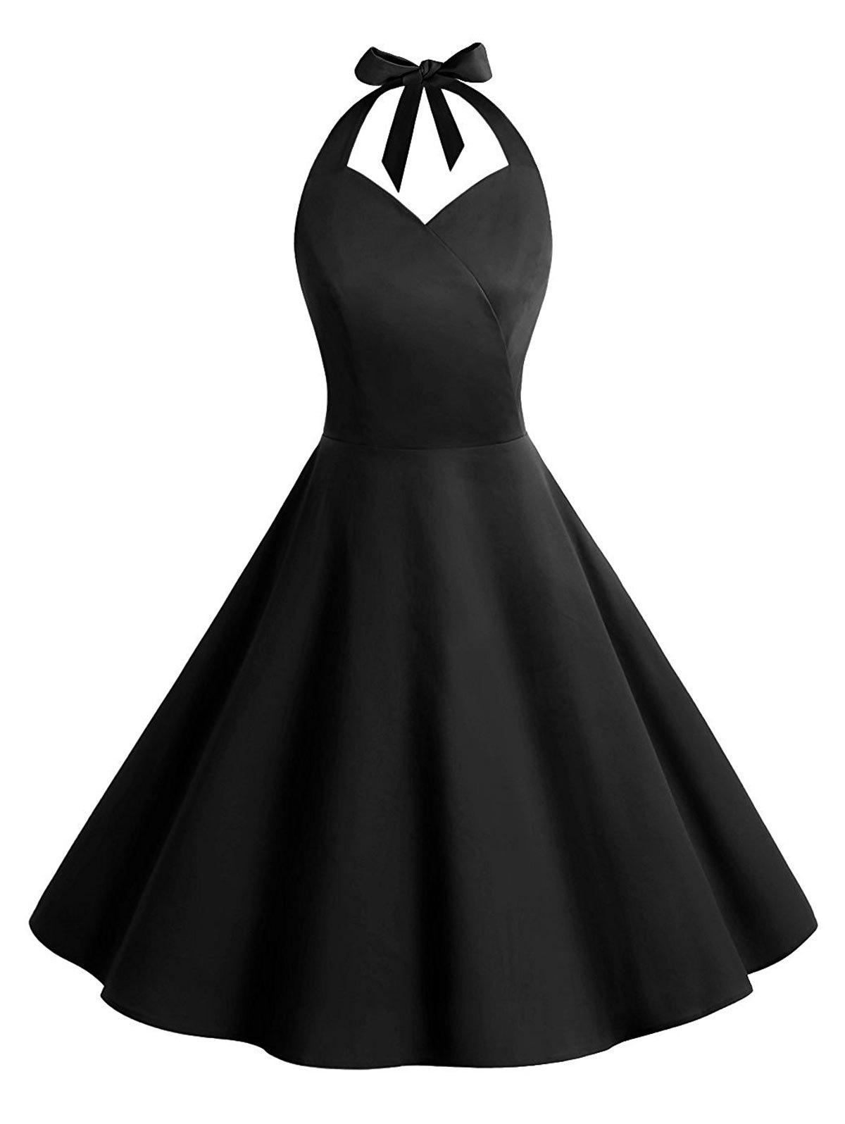 Vintage Halter Backless Party Skater Dress - Noir 2XL