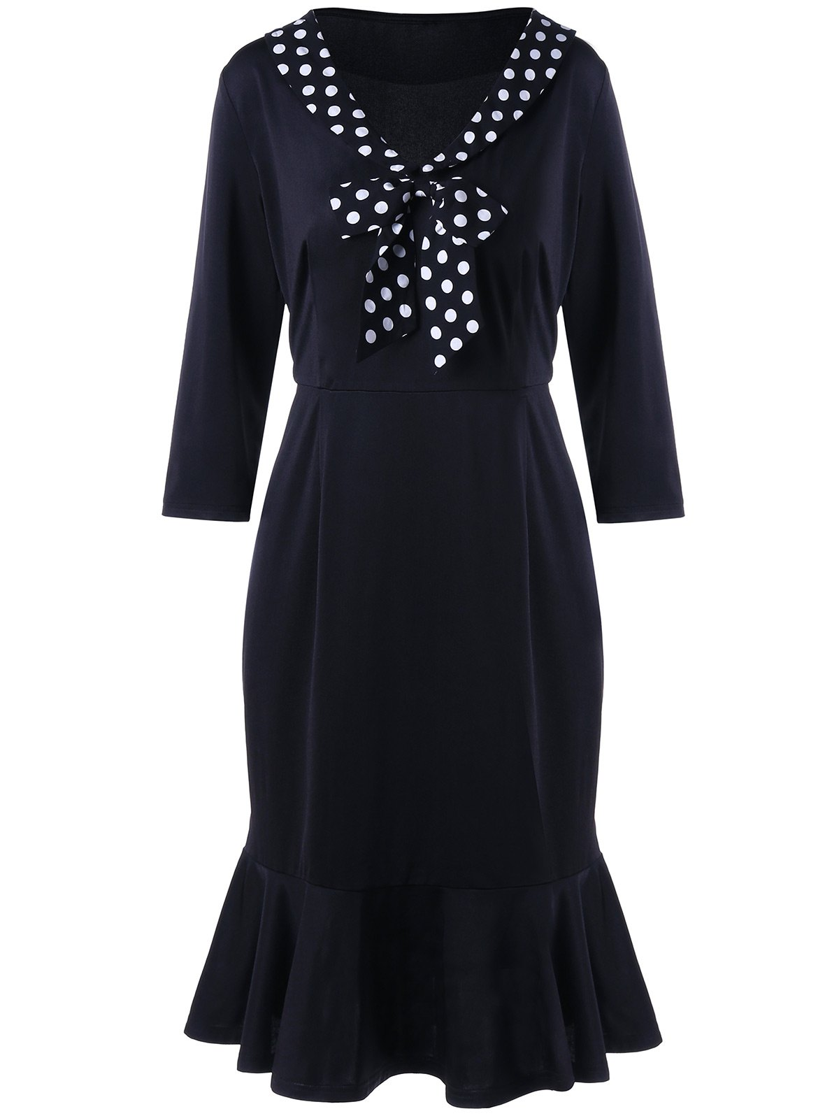 Polka Dot Formal Trim Plus Size Memaid Dress - BLACK 5XL