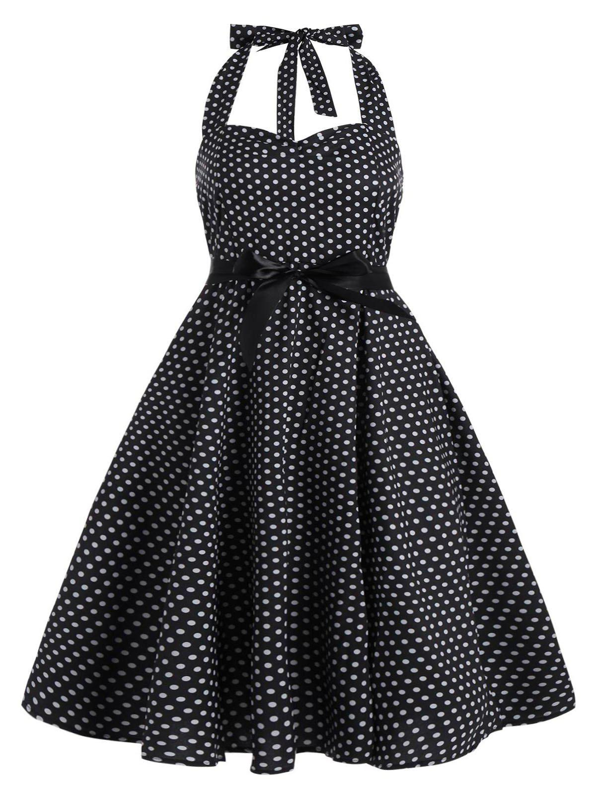Polka Dot Plus Size Halter Vintage Dress - BLACK 3XL