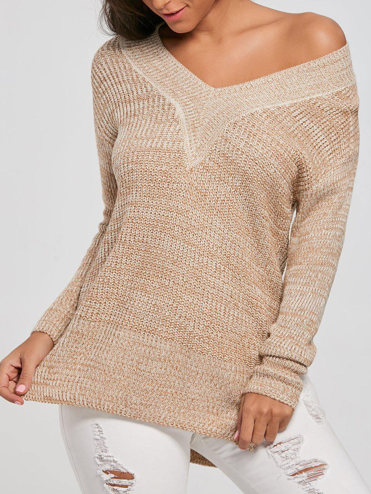 Long V Neck Knit Sweater open knit long sweater