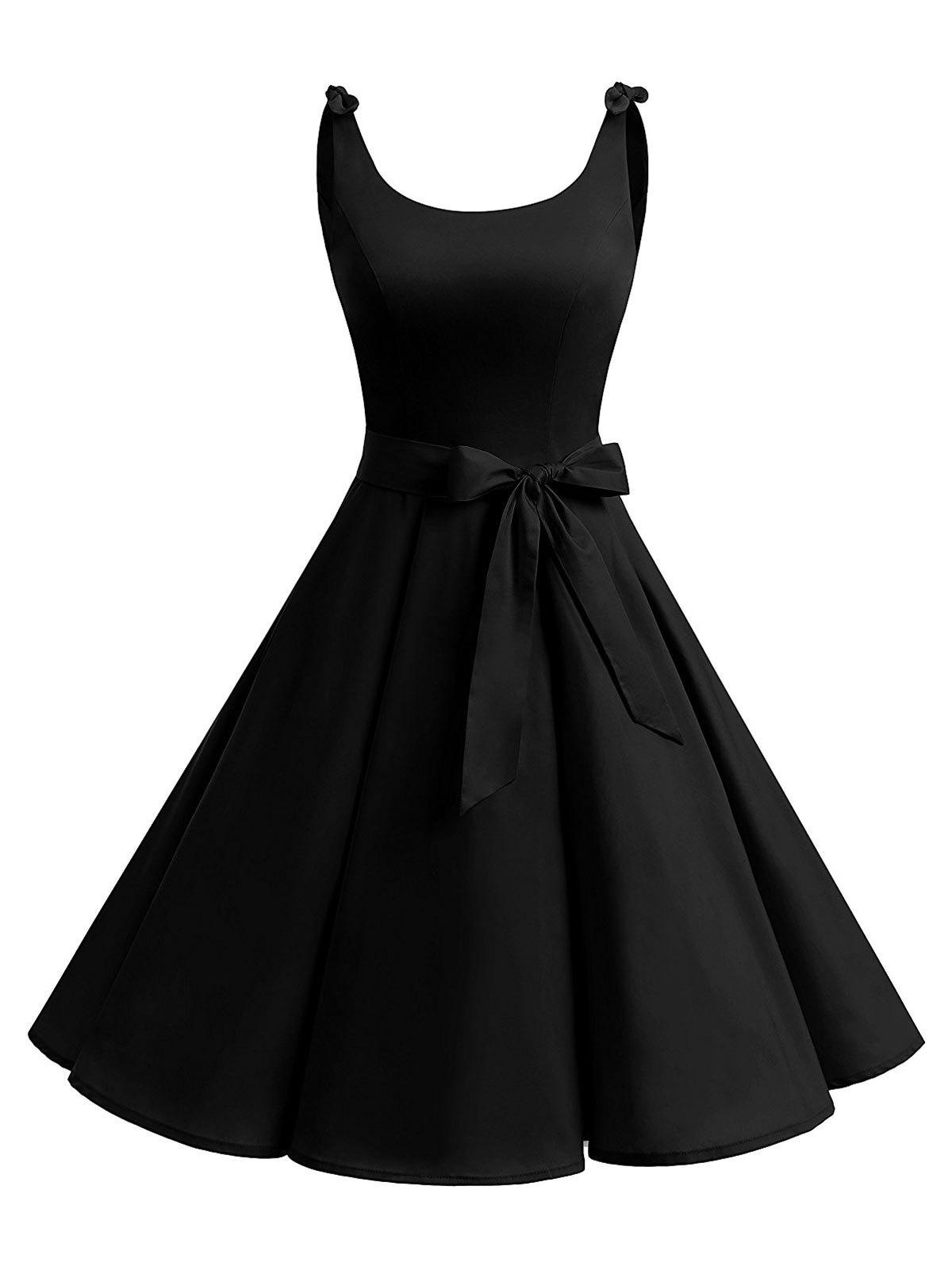 Vintage Cut Out Bowknot Party Skater Dress - Noir S