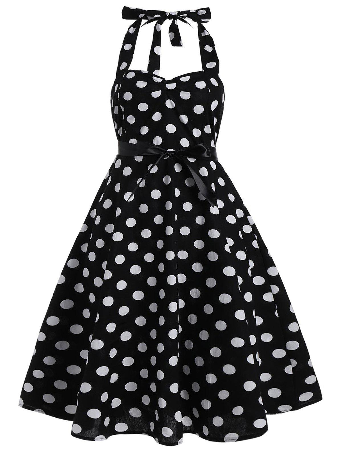 Polka Dot Plus Size Halter 50s Dress - BLACK 5XL