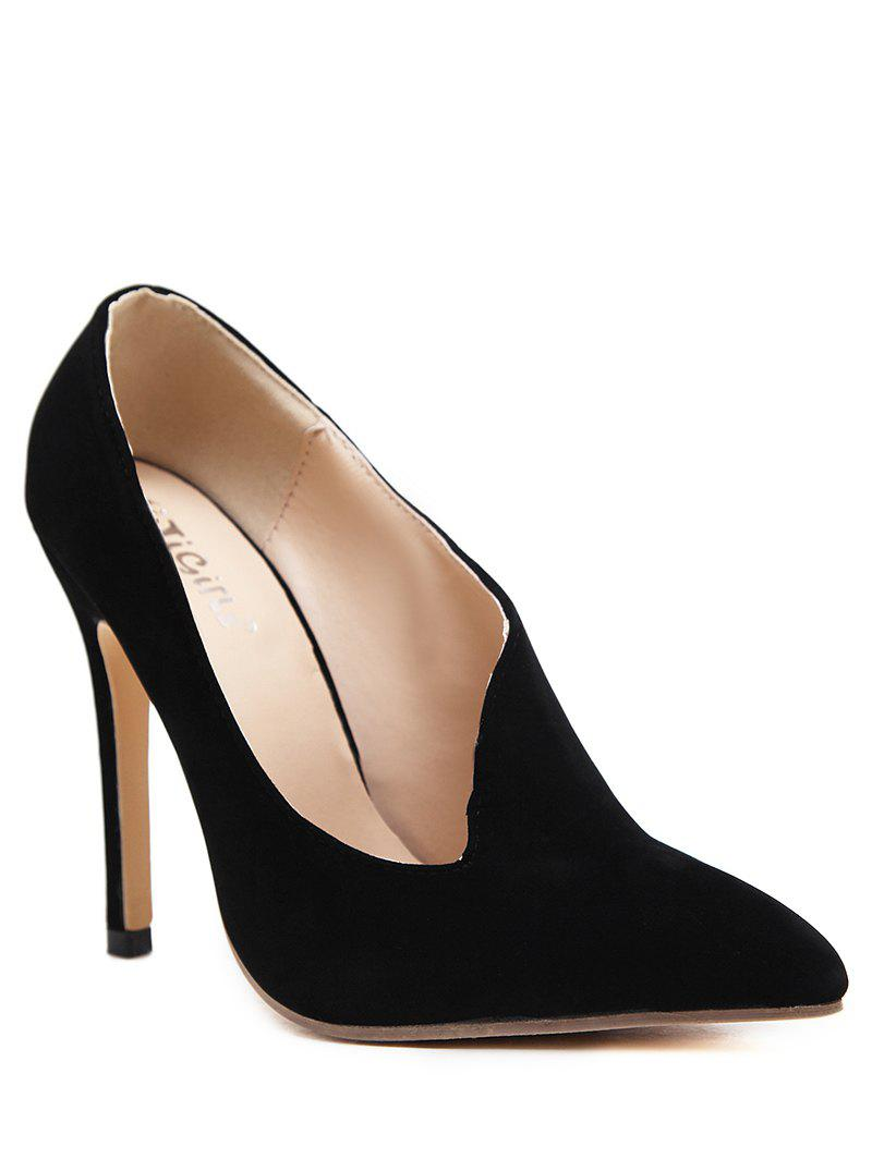 Pointed Toe V Shape Pumps - BLACK 39