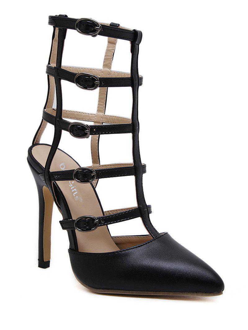 Pointed Toe Buckle Straps Pumps - BLACK 39