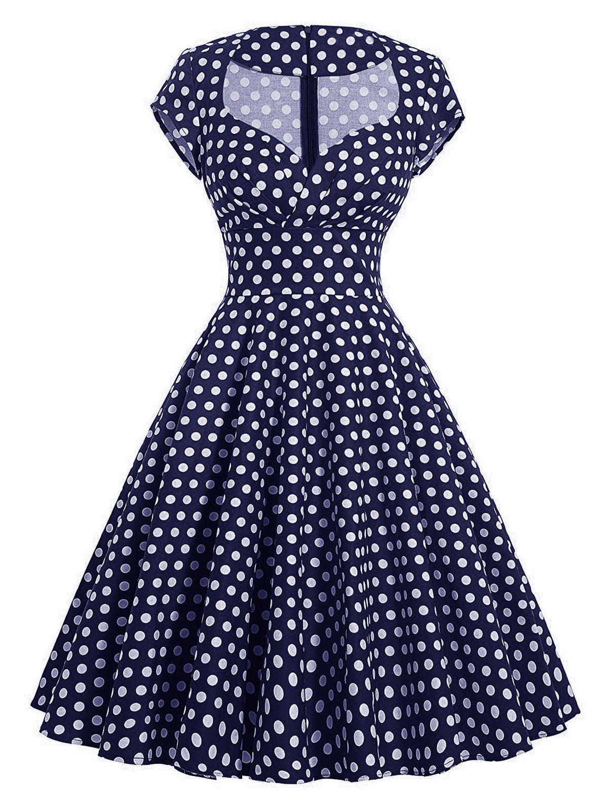 Vintage Polka Dot Pin Up Swing Dress - PURPLISH BLUE M