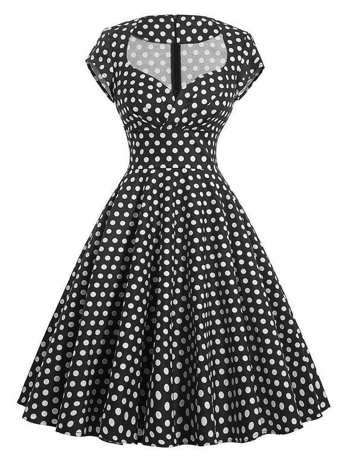 Vintage Polka Dot Pin Up Swing Dress - Noir 2XL