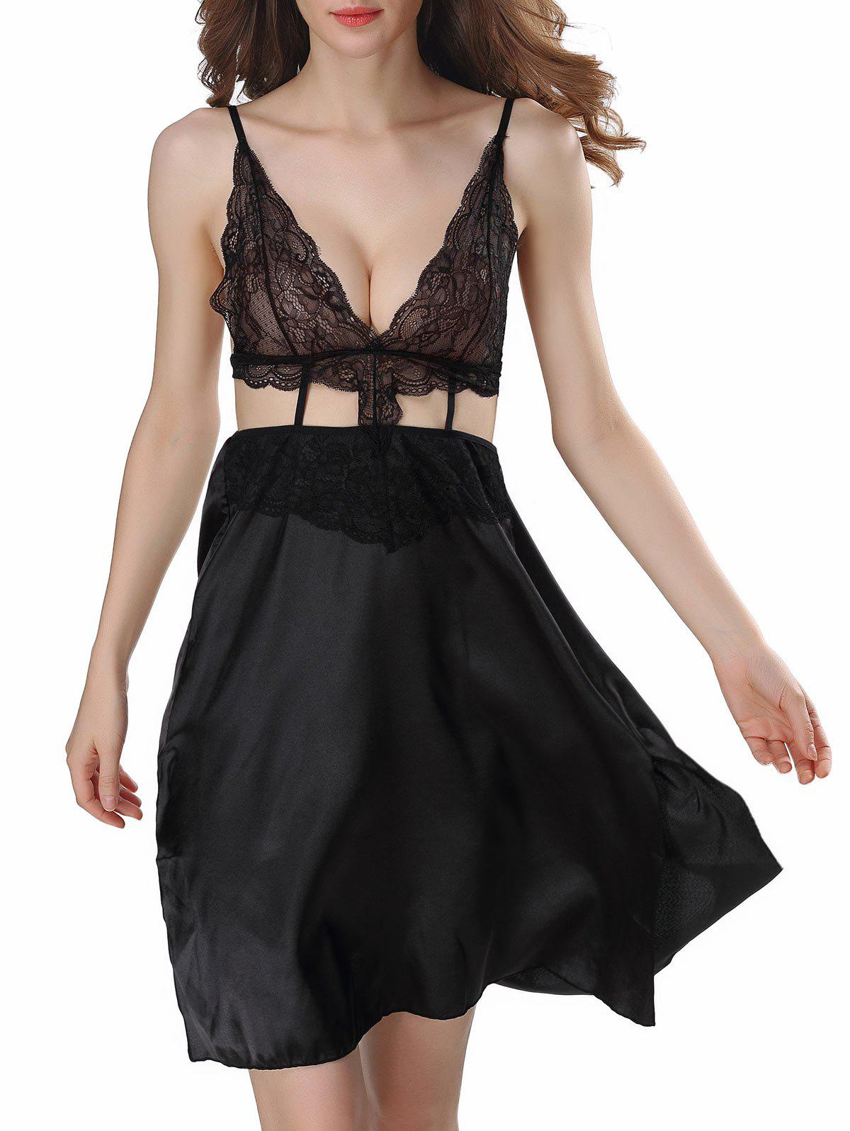 Backless Cut Out Satin Cami Dress - BLACK XL