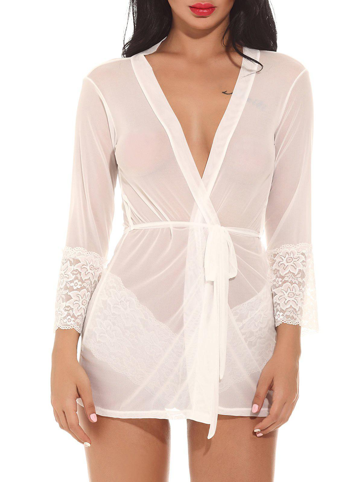 See Through Mesh Kimono Wrap Dress - WHITE L