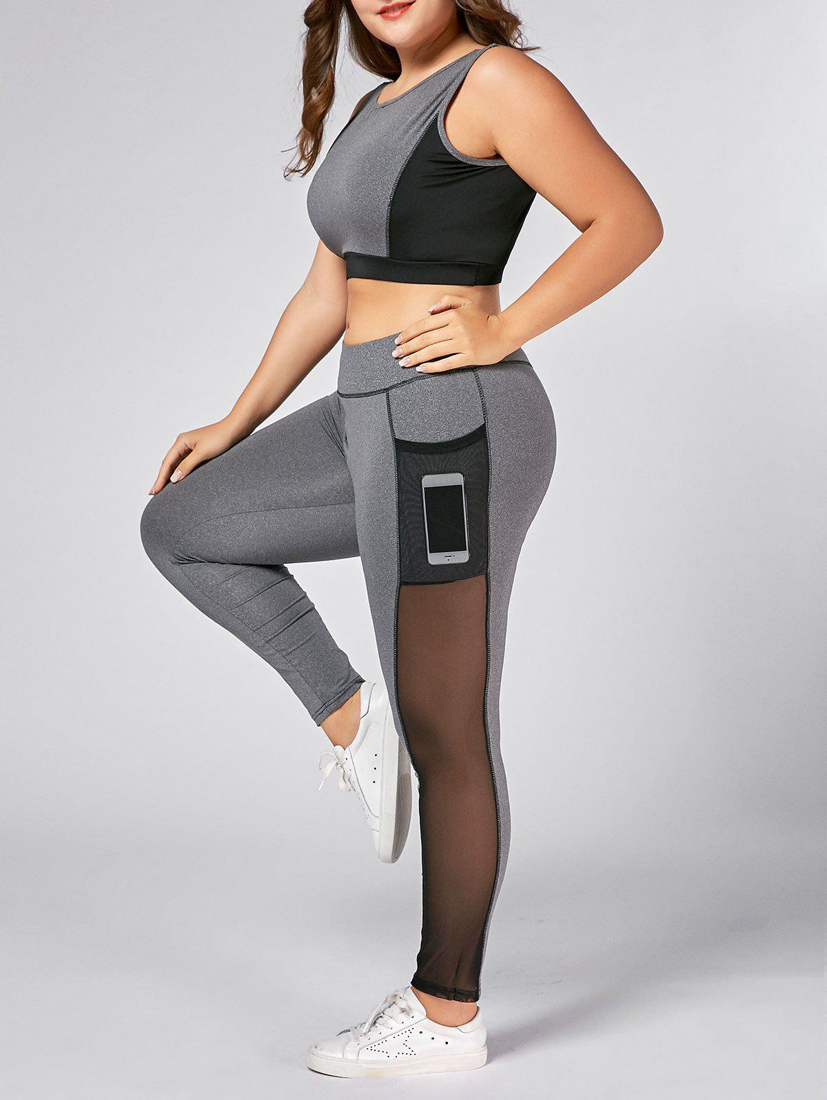 Plus Size Wirefree Bra and Mesh Panel Leggings - GRAY 4XL