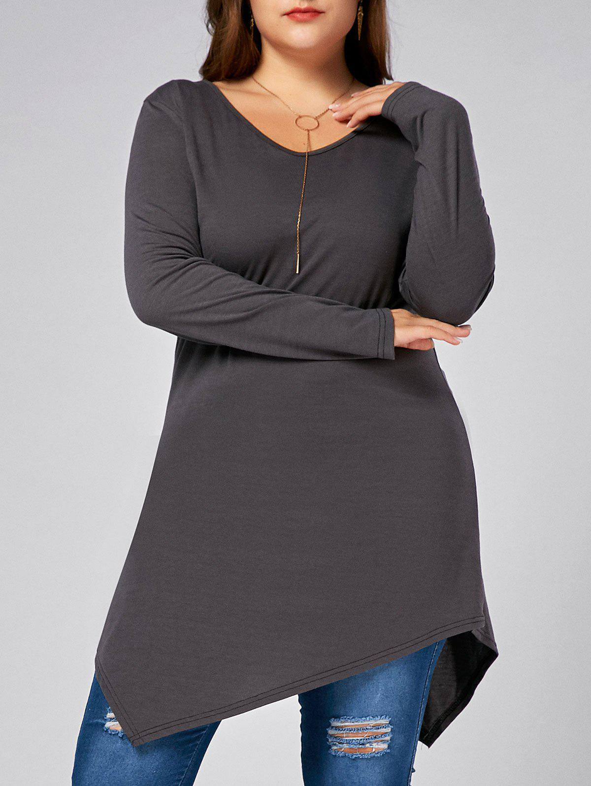 Plus Size V Neck Long Sleeve Asymmetric T-shirt - GRAY XL