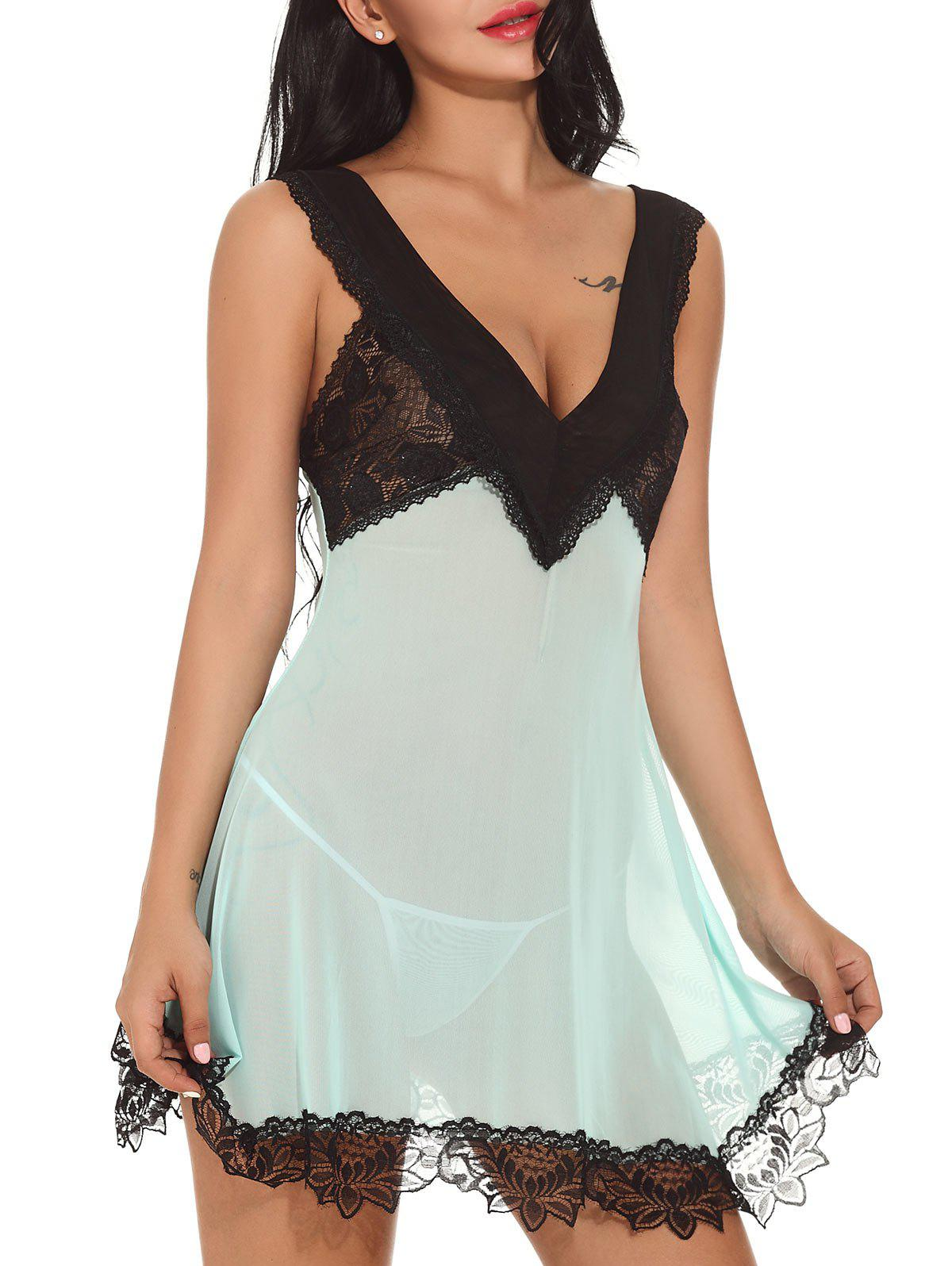 Plunging Neck See-through Babydoll see through plunging neck swing babydoll