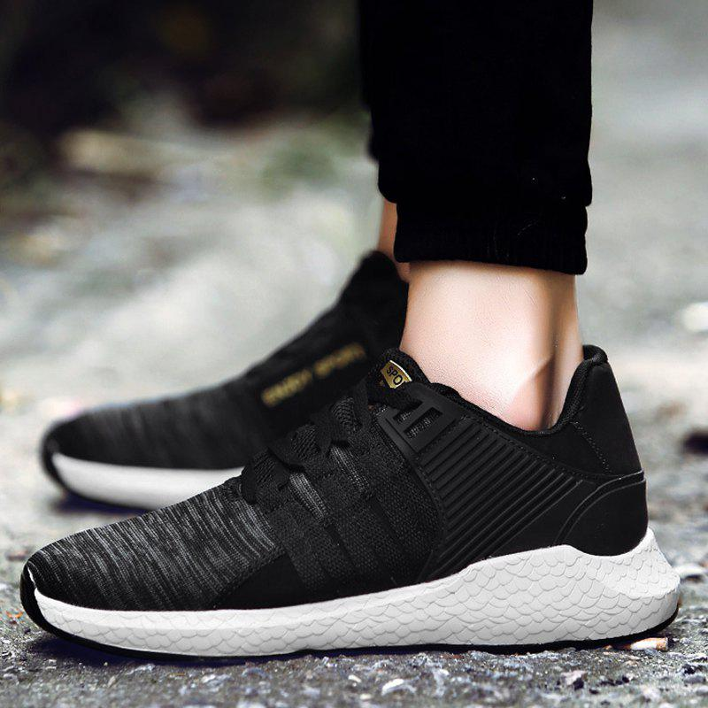 Pinstripe Breathable Athletic Shoes - BLACK 40