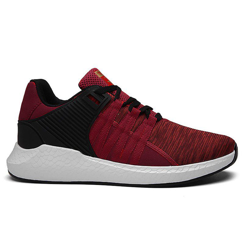 Pinstripe Breathable Athletic Shoes - RED 44