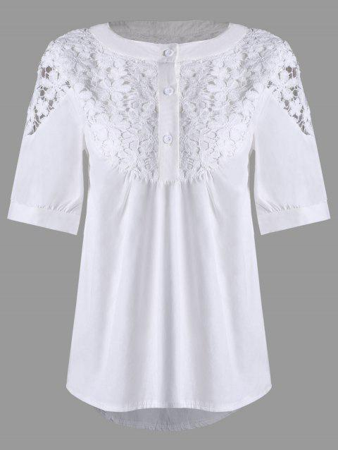 Chemisier en dentelle Crochet High Low Henley - Blanc 2XL