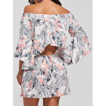 Leaf Print Flare Sleeve Off The Shoulder Dress